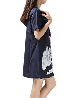 Loose Women Short Sleeve Printing Cotton Linen Mini Dress