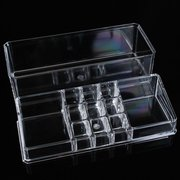 Two Layer Acrylic Clear Make Up Organizer Cosmetic Nail Decoration Storage Holder Case