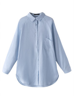 Повседневный длинным рукавом Pure Color Сыпучие Нерегулярное Блуза