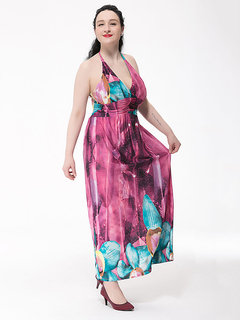 L-6XL Sexy Women Halter Backless Flower Printed Party Maxi Dress