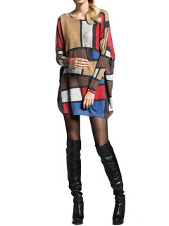 Women Plaid Printed Long Sleeve Mid-Long Loose Knit Sweater