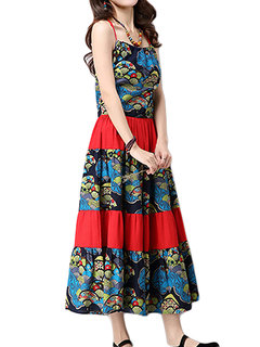 Ethnic Style Strap Printed Patchwork Pleated Maxi Dress