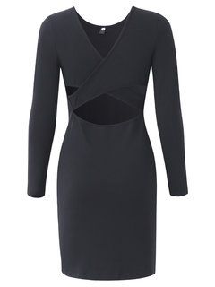 Women Long Sleeve Black Bandage Hollow Out Slim Dress