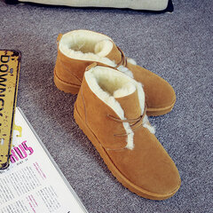 Pure Color Suede Wool Fleece Lining Short Ankle Snow Boots