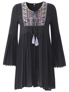 Embroidery Ethnic Women Long Fare Sleeve Loose Mini Dress