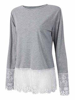 Women Long Sleeve O Neck Lace Patchwork T-shirt