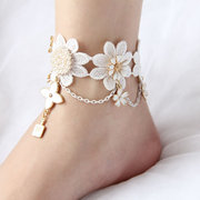 White Beautiful Lace Pearl Flower Anklet