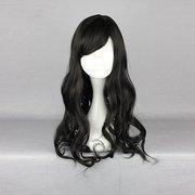 Harajuku 50см черный Волнистые Длинные Высокая температура жары Friendly синтетический костюм косплей парик