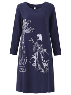 Women Floral Printed Long Sleeve Cotton Loose Dress