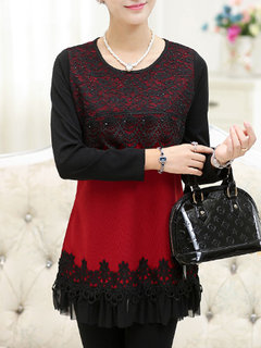 Women Long Sleeve Lace Patchwork Slim Knitted Shirt