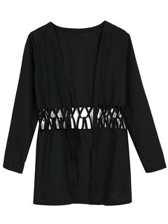 Sexy Casual Black Hollow Out Long Sleeve Cardigan