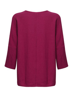 Women Pure Color Long Sleeve O-Neck Ethnic Shirts