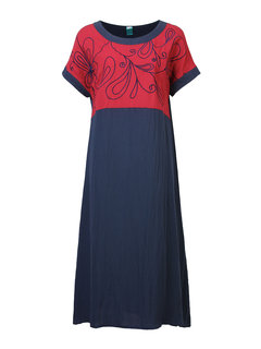 Chinese Style Embroidered Stitching Short-Sleeve Loose Dress