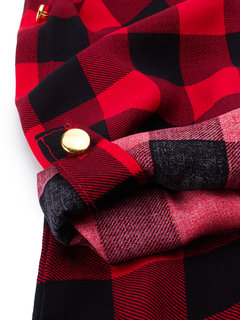 Ladies Casual Cotton Long Sleeve Red Plaid Button Pocket Blouse