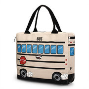 Women Canvas Cartoon Bus Design Handbag Travel Outdoor Large Capacity Shoulder Bags