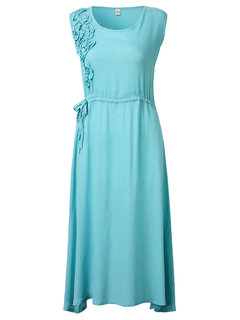 Sleeveless Flower Embroidery Solid Color Long Maxi Dress For Women