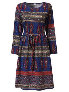Ethnic Women Long Sleeve High Waist Vintage Dress