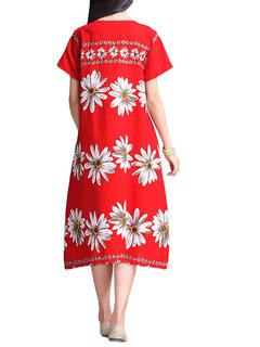 Loose Women Flower Printed  Short Sleeve Cotton Linen Dress