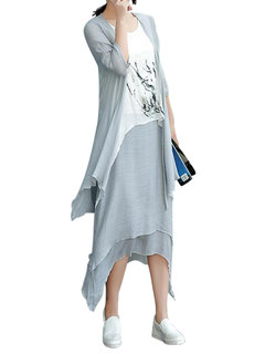 Two Pieces Vintage Floral Printed 3/4 Sleeve Dress For Women