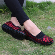 Pattern Slip On Vintage Flat Print Casual Loafers For Women