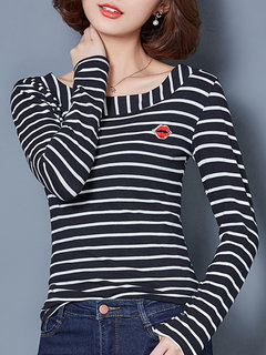 Casual Stripe Long Sleeve O Neck Women Cotton T-shirt