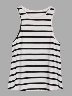 Women Sleeveless O Neck Stripe Tank Top Casual Vest