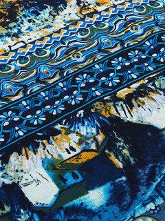 Урожай Печатный O-образным вырезом с длинным рукавом Сторона Сплит платье партии для женщин