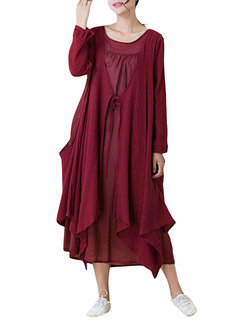 Vintage Two Pieces Long Sleeve Irregular Dress For Women