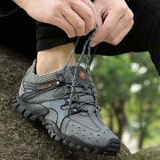 Suede Mesh Breathable Button Outdoor Sport Jogging Hiking Athletic Sneakers