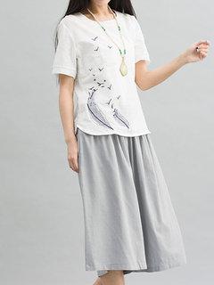 Women Short Sleeve O Neck Brief Bird Embroidery T-shirt