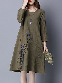 Embroidery Vintage Long Sleeve Women Cotton Dress