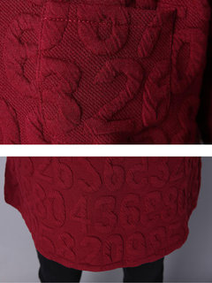 Women Casual Long Sleeve Number Embossed Pullover Shirts