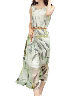 Women Sleeveless O Neck Leaf Printied Chiffon Maxi Dress