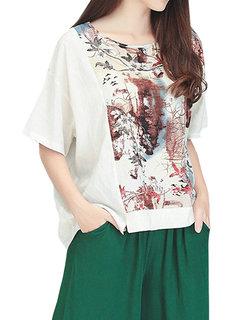 Ethnic Style Printing Patchwork Loose Vintage Women  Shirt
