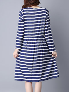 Casual Stripe High Waist Long Sleeve Pocket Women Dress
