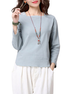 Women Long Sleeve Square Neck Embroidery Solid T-shirt