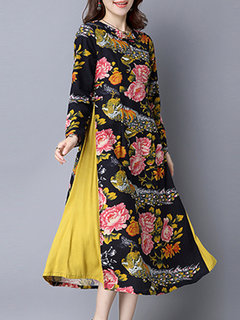 Vintage Chinese Style Flower Printed Patchwork Long Sleeve Dress For Women