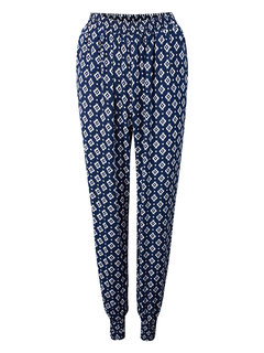 Casual Ladies Cotton Floral Geometric Pattern Printed Harem Pants
