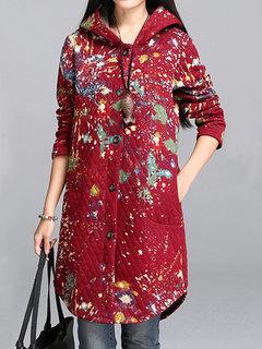 Women Hooded Printed Long Sleeve Pocket Irregular Hem Thicken Coat
