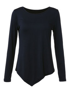 Basic Black Asymmetrical Solid Long Sleeve Casual Women  T-Shirt