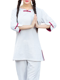 Women Yoga Long Sleeve Pure Color Two Pieces Tracksuits