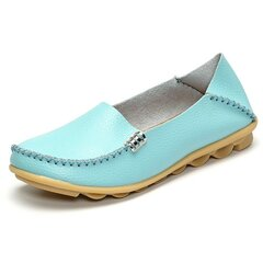 Soft Leather Pure Color Metal Slip On Comfortable Lazy Loafers