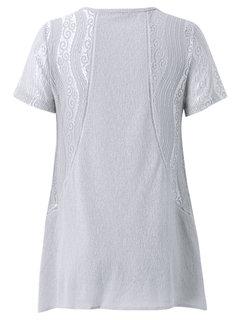 Повседневный вышивки из бисера Лоскутная V-образным вырезом кружева футболки для женщин