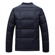 Winter Casual Middle-aged Thicken Warm Rib Cuff Stand Collar Down Jacket For Men