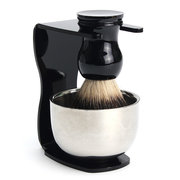 Men Shaving Kit Badger Hair Brush + Stand + Stainless Steel Bowl Set