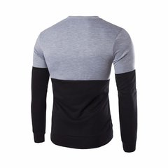 Men's Fashion Patchwork Contrast Color O-neck Hoodies Swearshirts