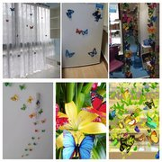 12Pcs 3D Rose Red Butterfly Art Decals Wall Stickers Home Wedding Party Decoration