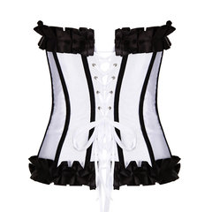 Women Sexy Black Vertical Stripe Bustiers Ribbon Satin Lace Overbust Corset