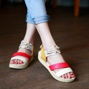 Bead Strappy Color Match Peep Toe Buckle Metal Korean Style Flat Sandals