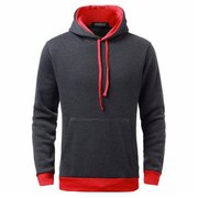 Men's Winter Sport Plus Velvet Round Neck Cotton Hooded Sweatshirts